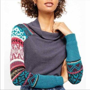 Free People Prism Sweater Charcoal Combo Size S